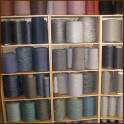 Shelves showing overlocking yarn